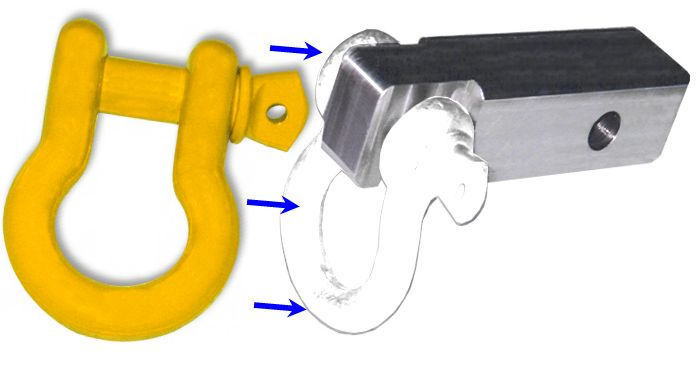 2 inch (Aluminum) Receiver Bracket w/ OLD MAN EMU YELLOW Powdercoated D-Shackle & Locking Hitch Pin (OFF-ROAD RECOVERY)