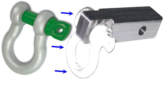 "2 inch (Aluminum) Receiver Bracket w/ VanBeest ""Green Pin"" D-Shackle & Locking Hitch Pin (OFF-ROAD RECOVERY)"