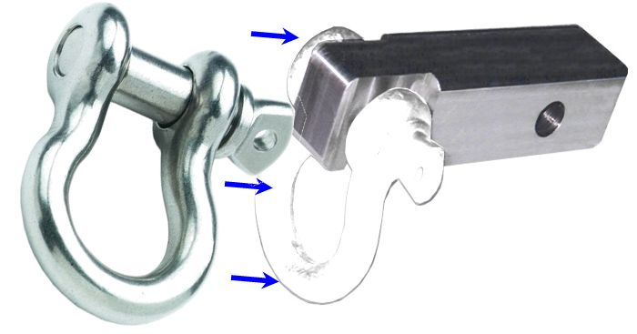 2 inch (Aluminum) Receiver Bracket w/ STAINLESS STEEL D-Shackle & Locking Hitch Pin (OFF-ROAD RECOVERY)