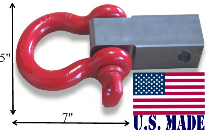 (U.S. made) It's Big! MEGA SHACKLE BRACKET (steel) & LOCKABLE PIN (with 1 inch MEGA D-shackle) (OFF-ROAD RECOVERY)
