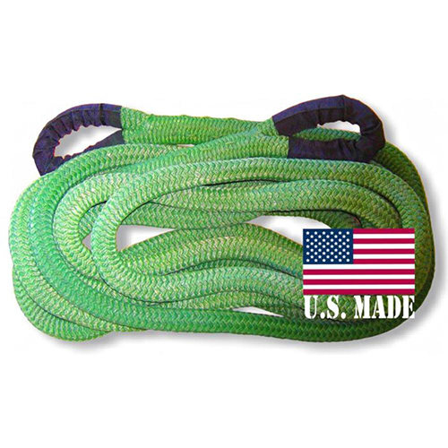 """U.S. made 1-1/8 inch X 30 ft """"GECKO GREEN"""" Safe-T-Line Kinetic Recovery ROPE (4X4 VEHICLE RECOVERY)"""