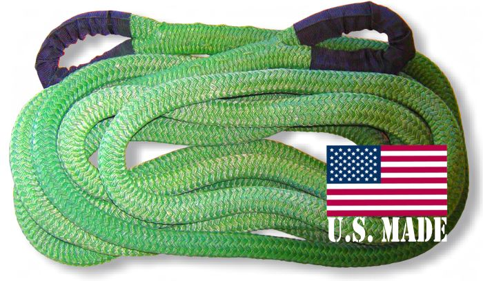 "U.S. made 1-1/8 inch X 30 ft ""GECKO GREEN"" Safe-T-Line Kinetic Recovery ROPE (4X4 VEHICLE RECOVERY)"
