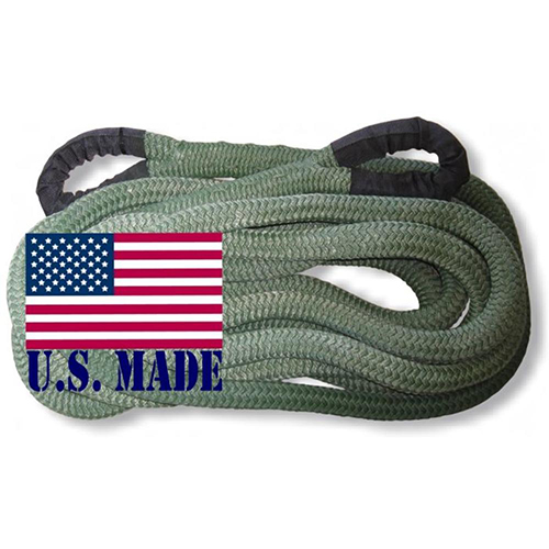 """U.S. made """"MILITARY GREEN"""" Safe-T-Line Kinetic Recovery (Snatch) ROPE - 1 inch X 30 ft (4X4 VEHICLE RECOVERY)"""