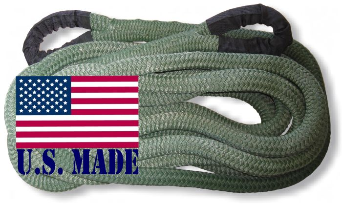 "U.S. made ""MILITARY GREEN"" Safe-T-Line Kinetic Recovery (Snatch) ROPE - 1 inch X 30 ft (4X4 VEHICLE RECOVERY)"