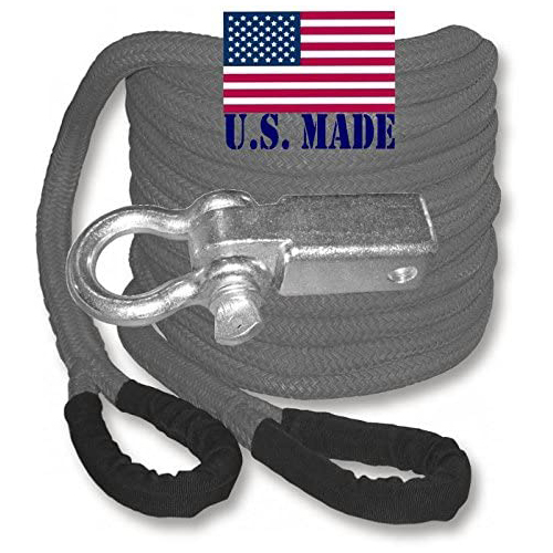 "U.S. made ""GUNMETAL GREY"" Safe-T-Line Kinetic Recovery (Snatch) ROPE - 1 inch X 30 ft (4X4 VEHICLE RECOVERY)"