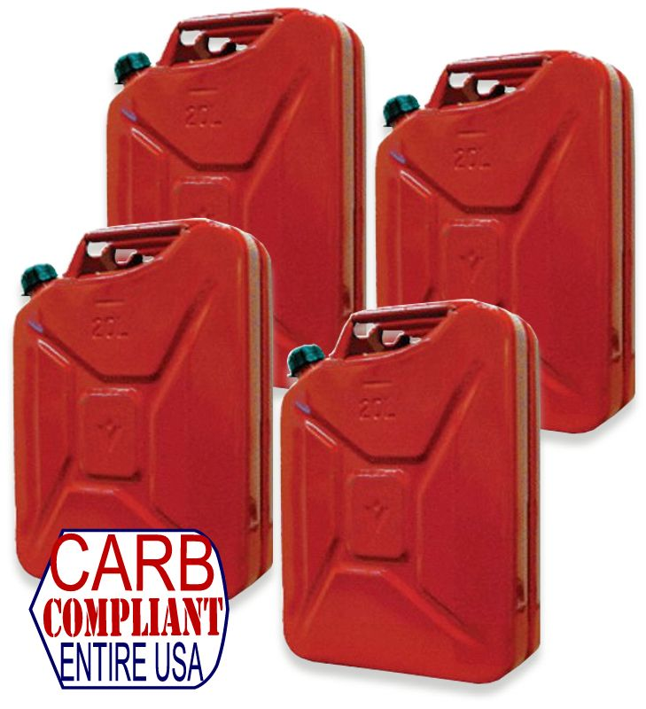 Set of 4 - CLASSIC 5 Gallon Steel Jerry GAS cans - NATO Dimensions (DOT, CARB and EPA approved for all 50 states)