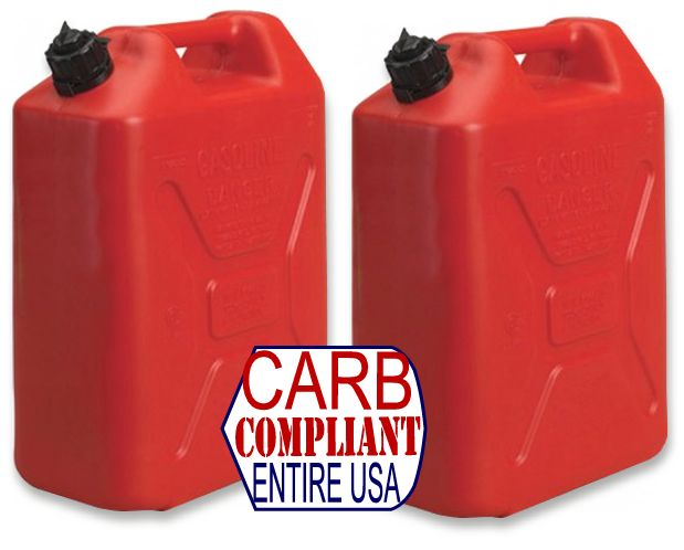 (Pair) JEEP-STYLE 5 GALLON POLYETHYLENE GAS CANS w/ nozzle (DOT, CARB and EPA approved for all 50 states)