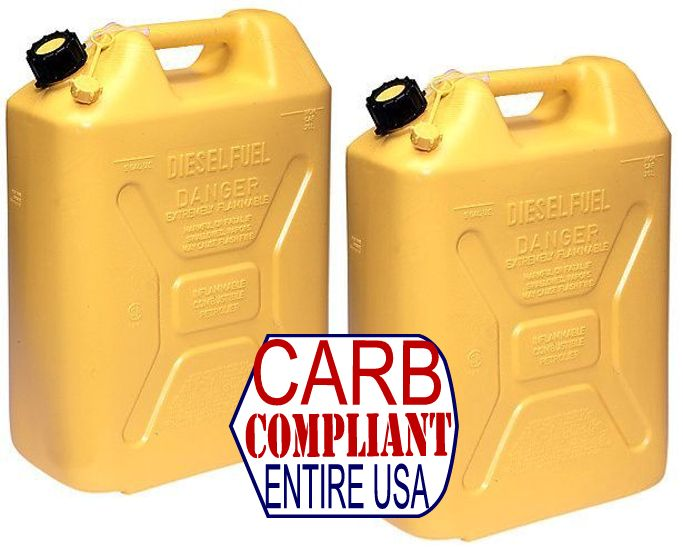 (Pair) MILITARY-STYLE 5 GALLON POLYETHYLENE DIESEL CANS w/ nozzle (DOT, CARB and EPA approved for all 50 states)