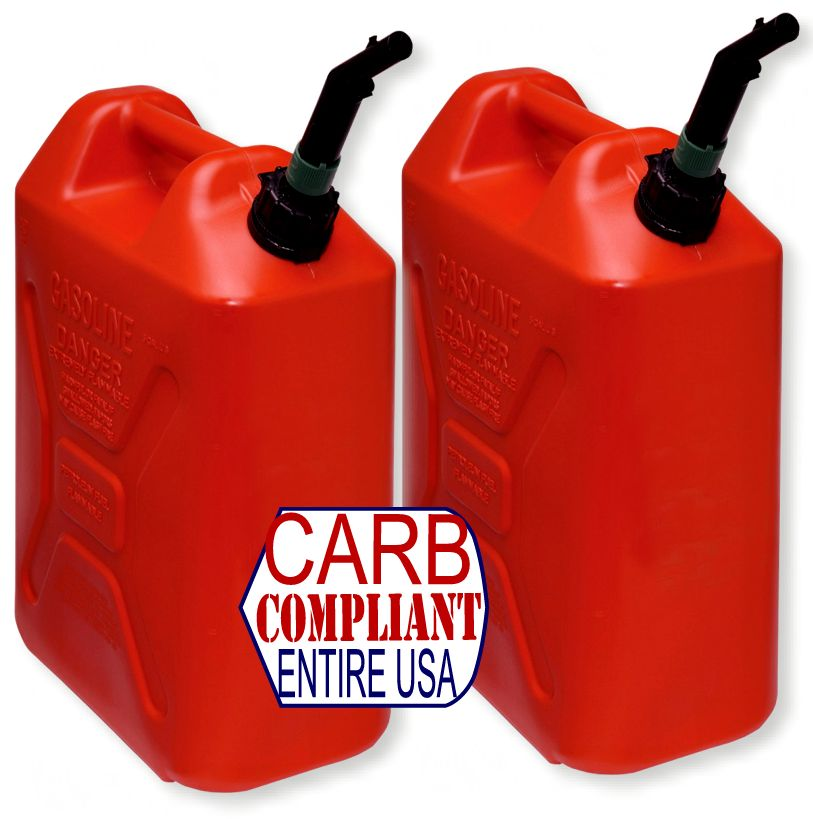(Pair) SCEPTER 5 Gallon POLYETHYLENE GAS CANS (DOT, CARB and EPA approved for all 50 states)