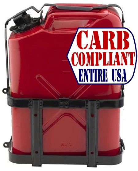 Lockable JERRY CAN HOLDER w/ CLASSIC 5 Gallon Steel Jerry can - GAS - NATO Dimensions (DOT, CARB and EPA approved for all 50 sta