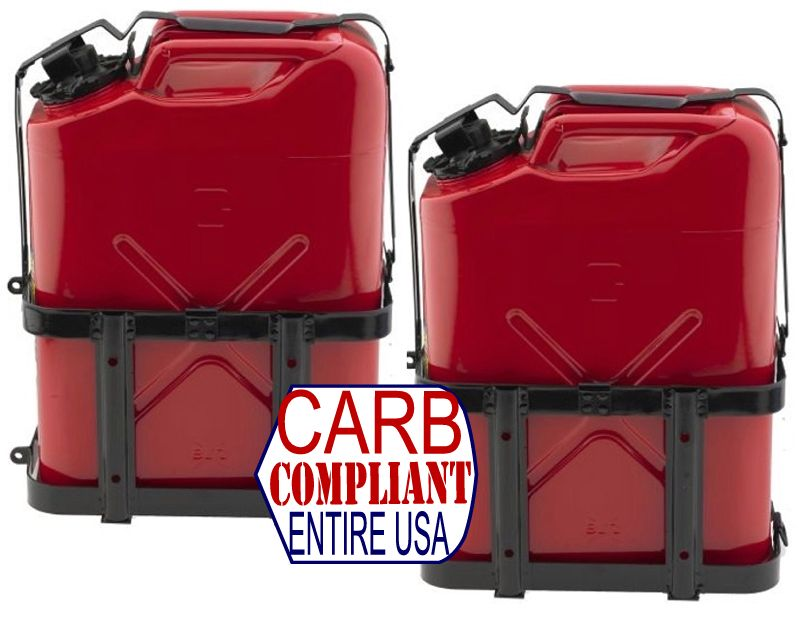 (Pair) JERRY CAN HOLDERS w/ CLASSIC 5 Gallon Steel Jerry cans - GAS - NATO Dimensions (DOT, CARB and EPA approved for all 50 sta