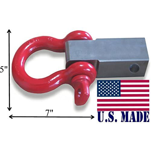 "(U.S. made) It's Bigger! MEGA SHACKLE BRACKET for 2-1/2"" Hitch Receivers with MEGA D-shackle (OFF-ROAD RECOVERY)"
