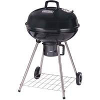 Omaha DFKP22443L Kettle Charcoal Grill With Handle, 380 sq-in, 22-1/2 in Dia 37-3/4 in H, Aluminum, Black