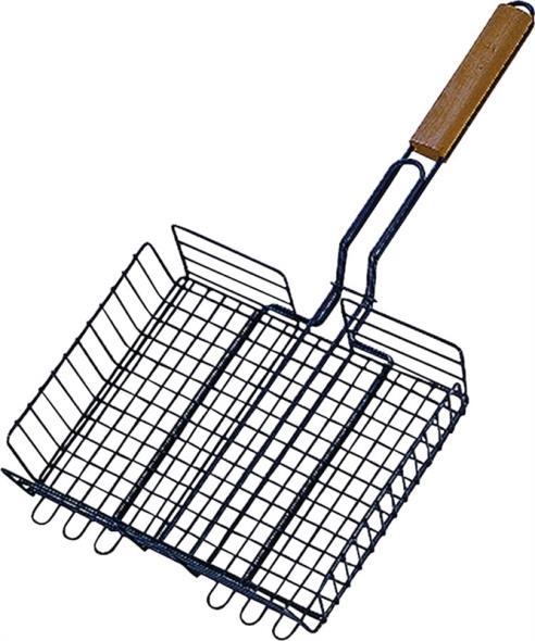ToolBasix SHD129983L Steak Baskets With Handle, Wood Handle, Steel
