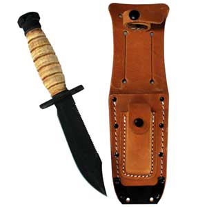 499 Air Force Survival Knife, Black Blade, w/Leather Sheath