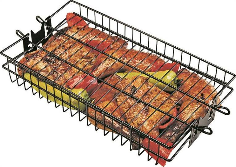 GrillPro 24785 Flat Non-Stick Spit Basket, 16 in Length X 7-1/2 in Width X 2 in Height