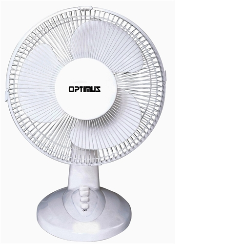 OPTIMUS F1230 WHITE TABLE FAN 12IN OSCILLATING TABLE 3SPEED