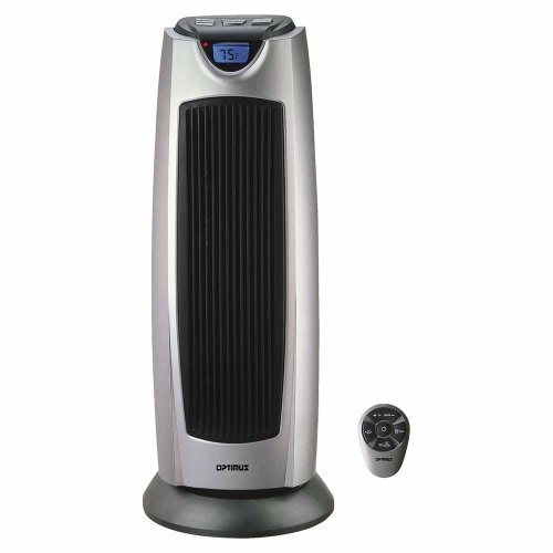 "Optimus 21"" Oscillating Tower Heater with Digital Temp Readout & Setting, Remote"