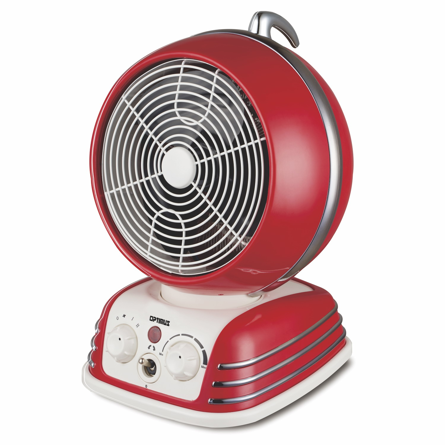 OPTIMUS H1418 RED RETRO DESIGN OSCILLATING FAN HEATER WITH 2