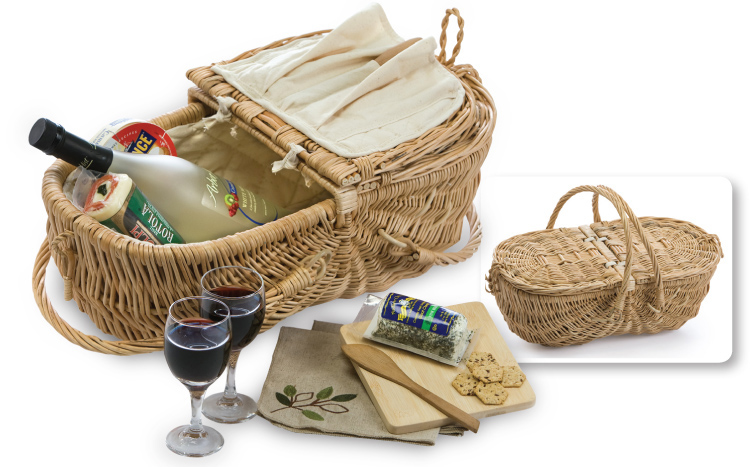 eco Wine & Cheese Basket (Stone Lining)