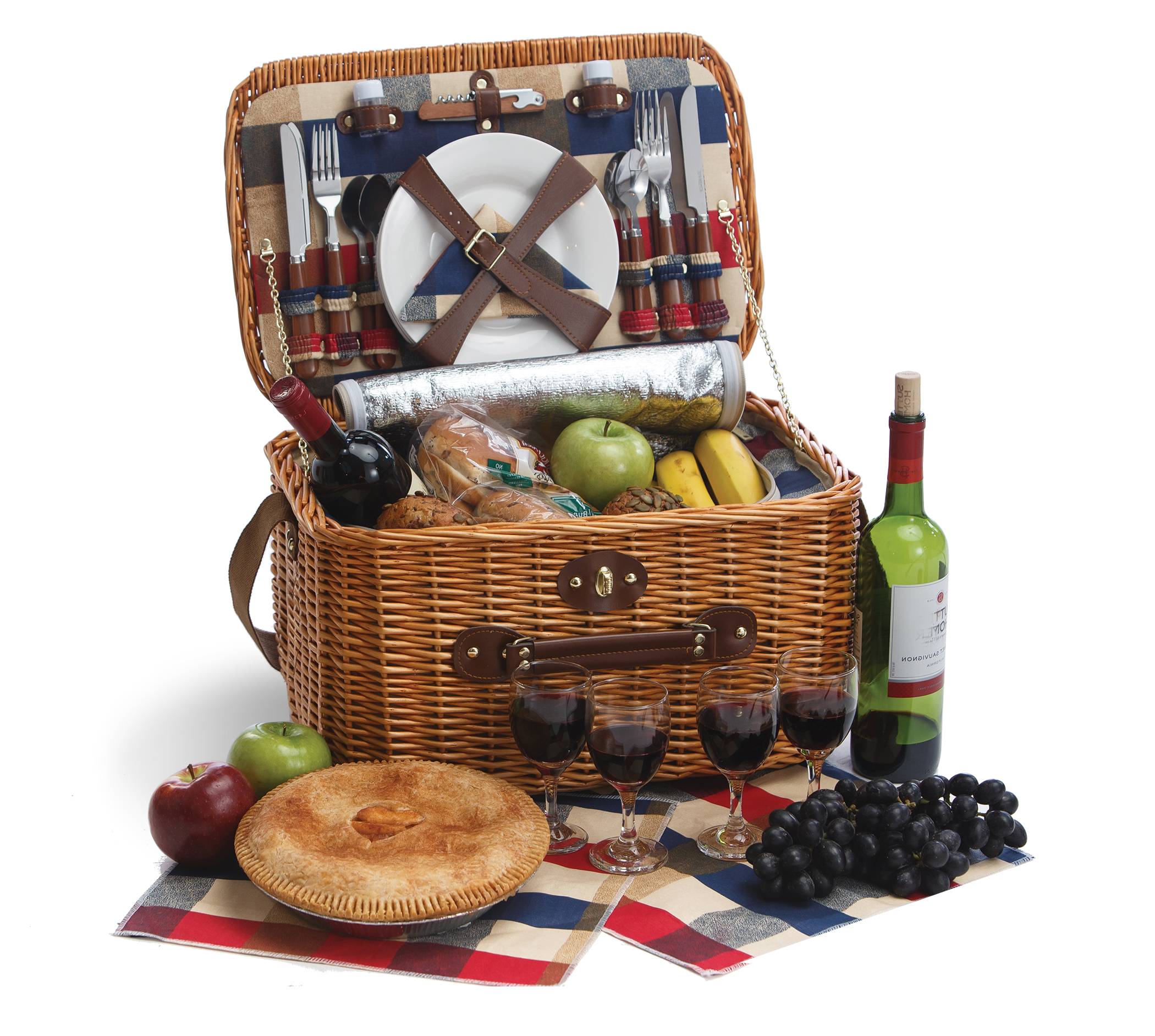 Rustica - Plaid Lining - 4 Person Picnic Basket