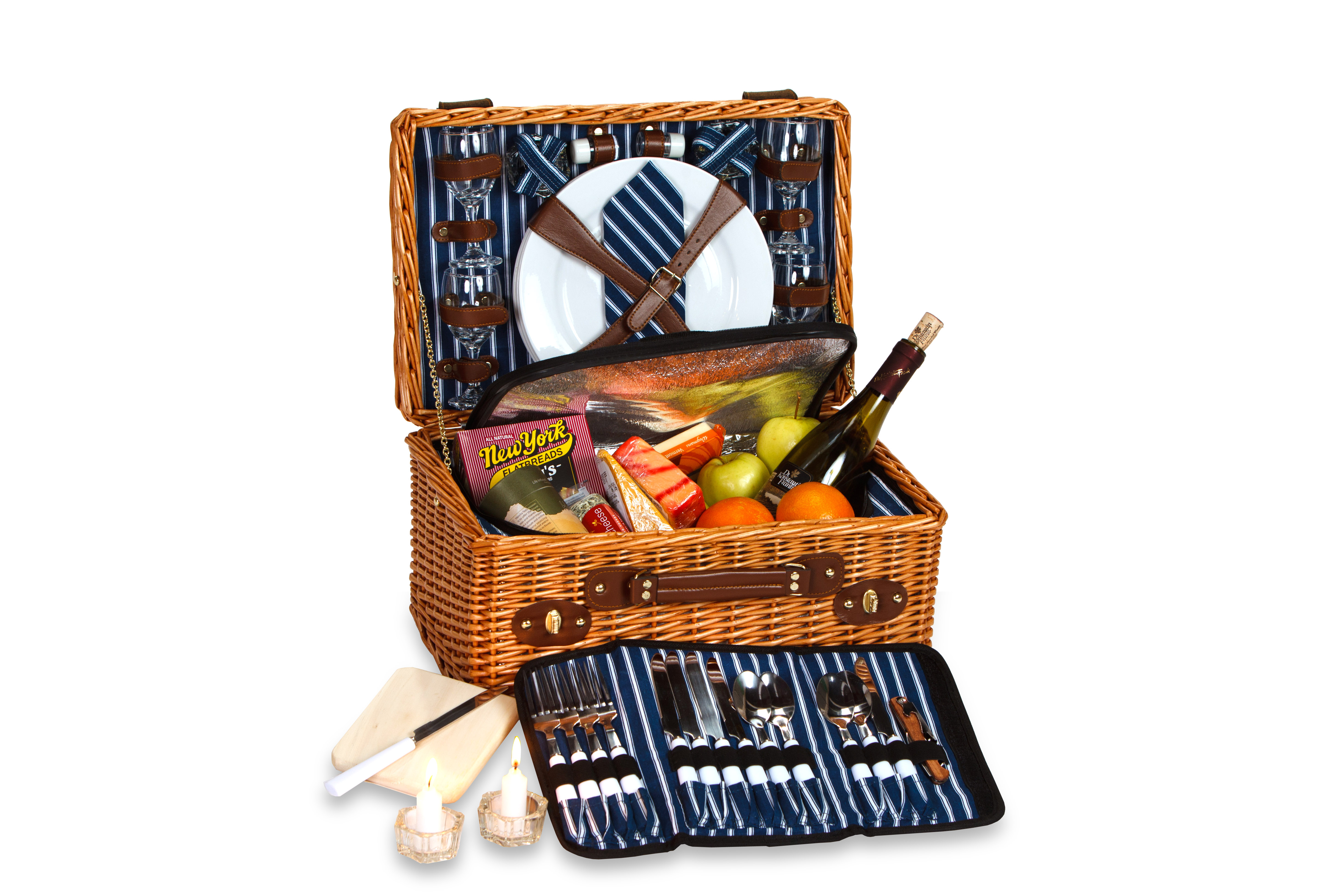 Wynberrie - Pinstripe Lining - 4 Person Picnic Basket