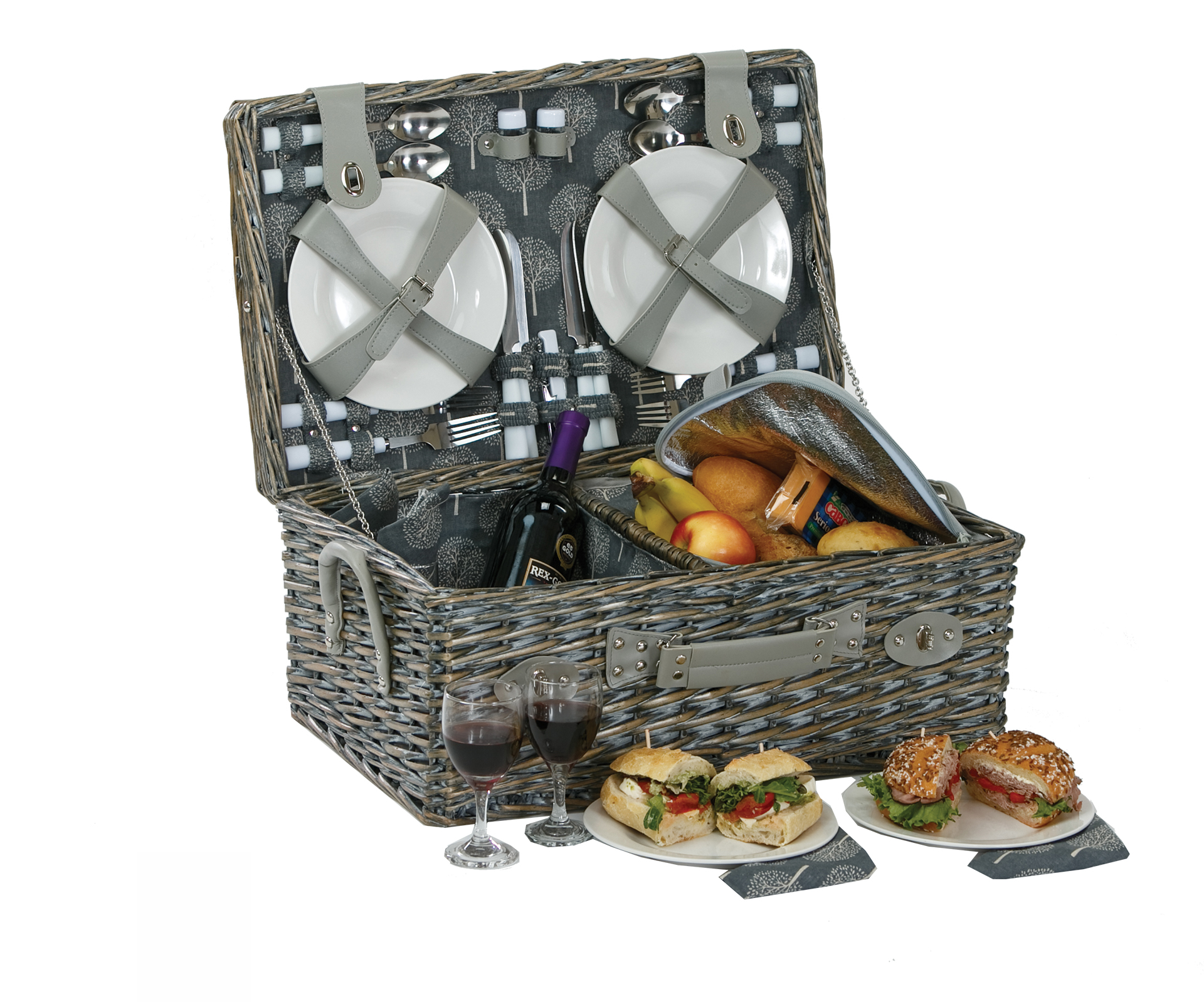 Nantucket - Grey - 4 Person Picnic Basket