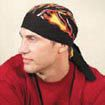 OccuNomix One Size Fits All Big Flames Tuff Nougies+ Regular Tie Hat (Doo Rag)