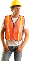 "OccuNomix 4X Orange OccuLux+ Lightweight Polyester And Mesh Non-ANSI Economy Vest With Front Hook And Loop Closure, 1"" Glossy Ta"