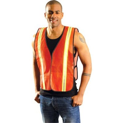"OccuNomix 4X Yellow OccuLux+ Lightweight Polyester And Mesh Non-ANSI Economy Vest With Front Hook And Loop Closure, 1-3/8"" Silve"