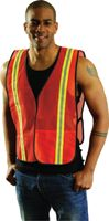 "OccuNomix 4X Orange OccuLux+ Lightweight Polyester And Mesh Non-ANSI Economy Vest With Front Hook And Loop Closure, 1-3/8"" Silve"