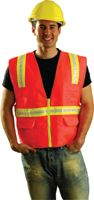 "OccuNomix Medium Orange OccuLux+ Woven Twill Polyester Non-ANSI Economy Two-Tone Vest With Zipper Front Closure, 3/4"" White Glos"