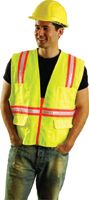 "OccuNomix Medium Yellow OccuLux+ Woven Twill Polyester Non-ANSI Economy Two-Tone Vest With Zipper Front Closure, 3/4"" White Glos"
