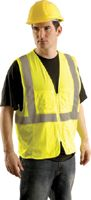 "OccuNomix Small - Medium Yellow OccuLux+ Lightweight Mesh Class 2 Economy Surveyor's Vest With Zipper Front Closure, 2"" Silver R"