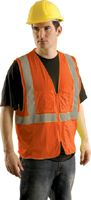 "OccuNomix Small - Medium Orange OccuLux+ Lightweight Mesh Class 2 Economy Surveyor's Vest With Zipper Front Closure, 2"" Silver R"