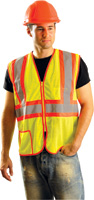 "OccuNomix X-Large Hi-Viz Yellow Lightweight Mesh Class 2 Vest With Zipper Front Closure, 2"" Silver Reflective Tape Striping And"