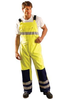 "OccuNomix 2X 48"" Hi-Viz Yellow, Blue And Silver Premium PU Coated Polyester Breathable Rain Bib Pants With Side Snap Closure, 3M"