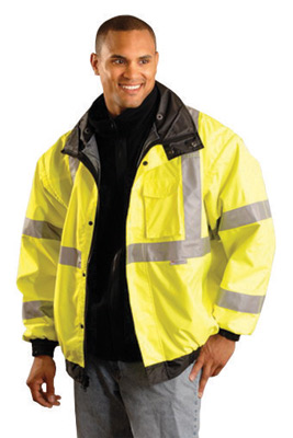 OccuNomix 3X Hi-Viz Yellow And Black Premium Four-Way Black Bottom Bomber Polyurethane Coated Polyester Class 3 Weatherproof Jac