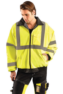 "OccuNomix X-Large Hi-Viz Yellow Value� Polyester And Polyurethane Coated Class 3 Bomber Jacket With Front Zipper Closure, 2"" Sil"