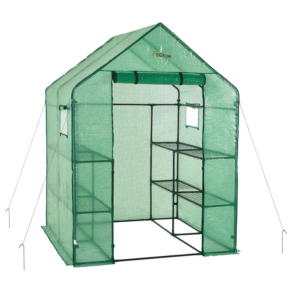 Ogrow Deluxe Walk-In 2 Tier 8 Shelf Portable Lawn & Garden Greenhouse - Heavy Duty Cover