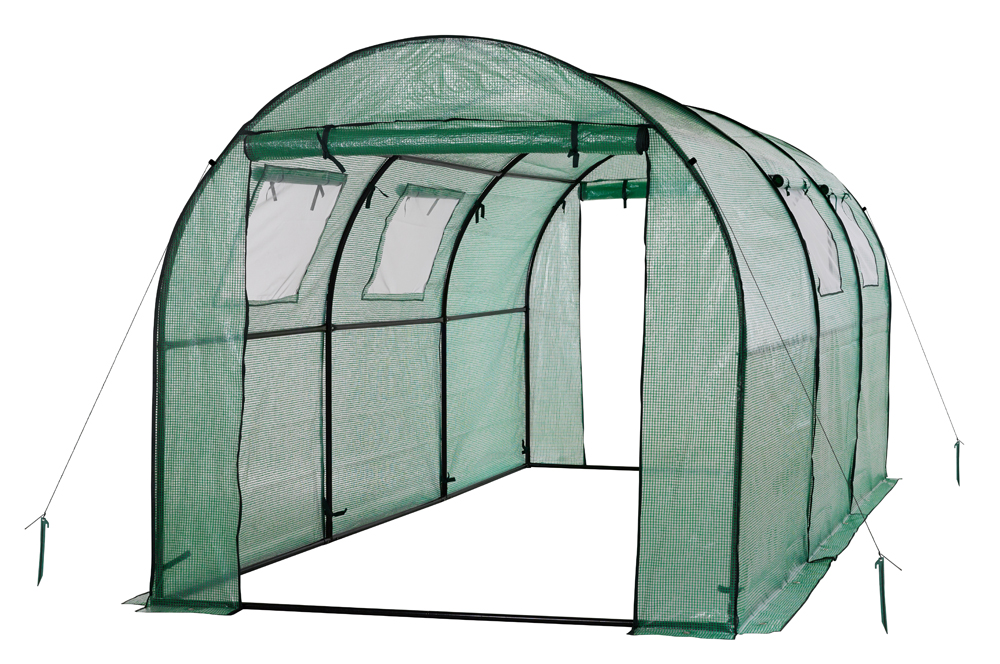Ogrow Two Door Walk-In Tunnel Greenhouse With Ventilation Windows And Steel Frame - 15' X 6' X 6'