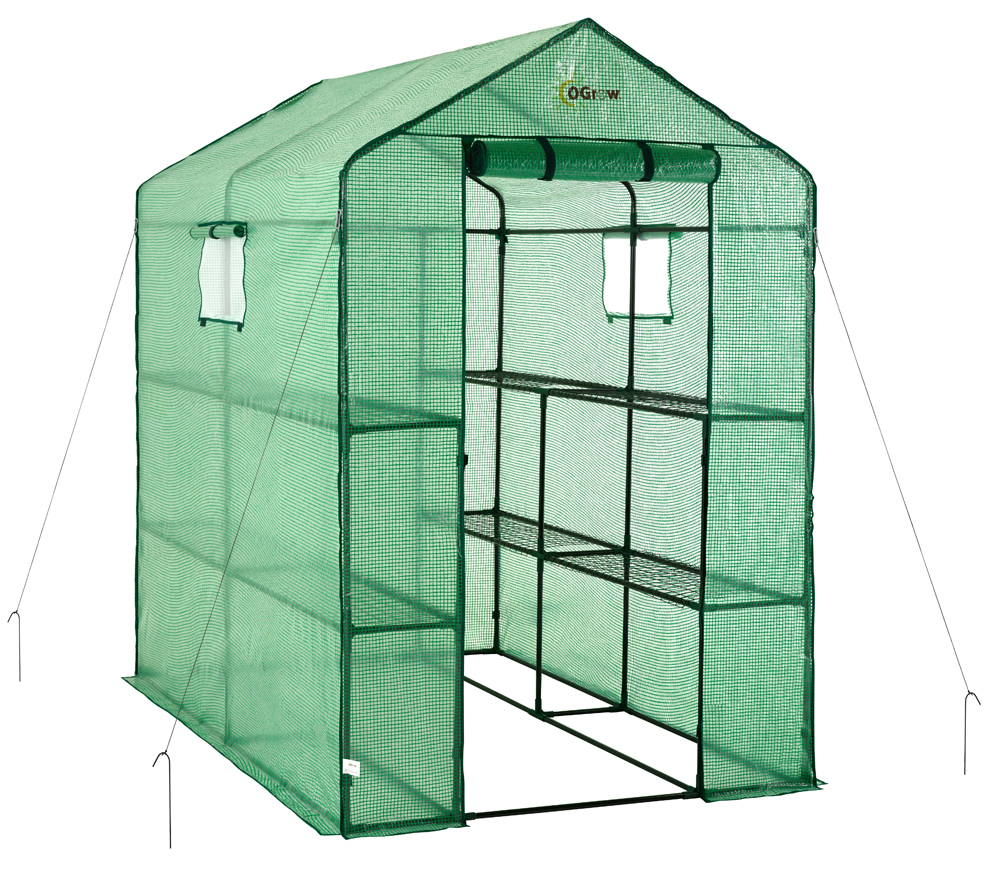 Ogrow Large Heavy Duty Walk-In 2 Tier 8 Shelf Portable Lawn & Garden Greenhouse