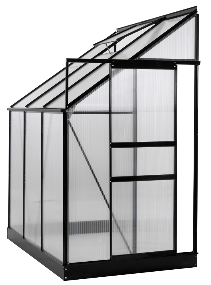 Ogrow Aluminium Lean-To Greenhouse - 25 Sq. Ft. - With Sliding Door And Roof Vent- 6' X 4' X 7'
