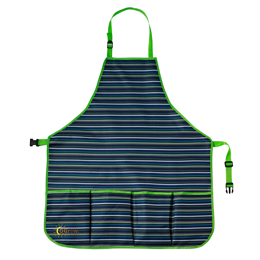 oGrow® High Quality 'Large' Gardener's Tool Apron With Adjustable Neck And Waist Belts - Blue/White Striped - Large