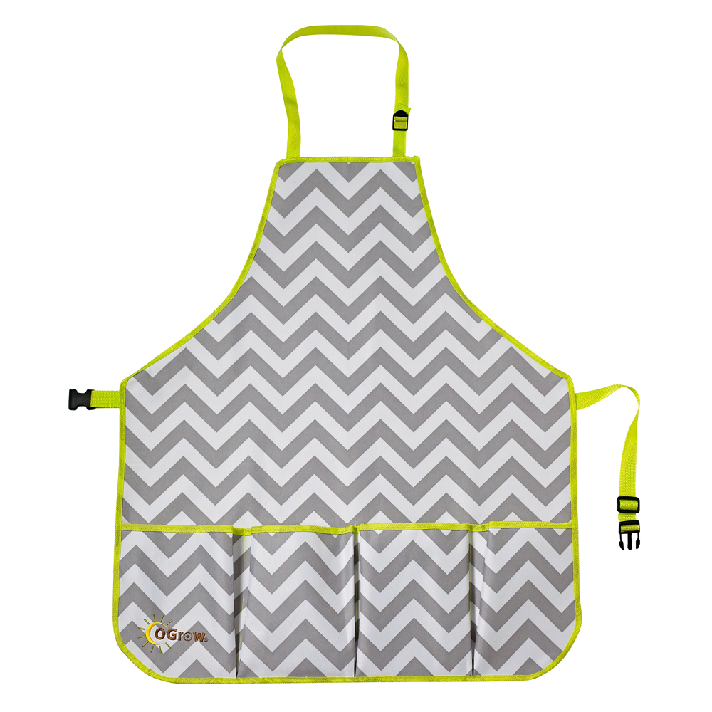oGrow® High Quality Gardener's Tool Apron With Adjustable Neck And Waist Belts - Grey/White Chevron - Large