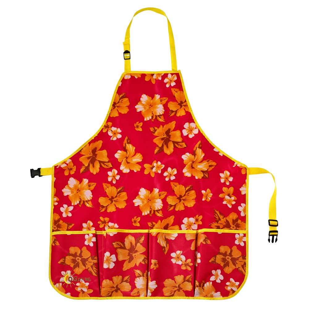 oGrow® High Quality 'Large' Gardener's Tool Apron With Adjustable Neck And Waist Belts - Raspberry Floral - Large