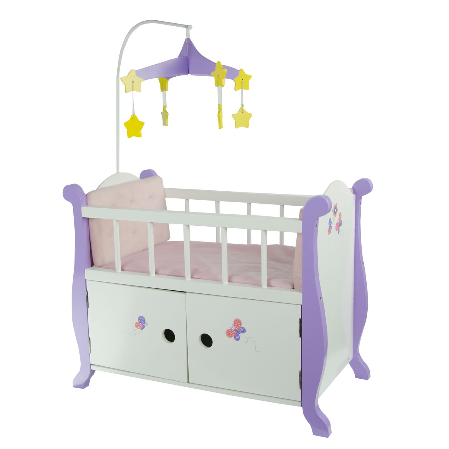 "Olivia's Little World Little Princess 18"" Doll Furniture - Baby Nursery Bed with Cabinet"