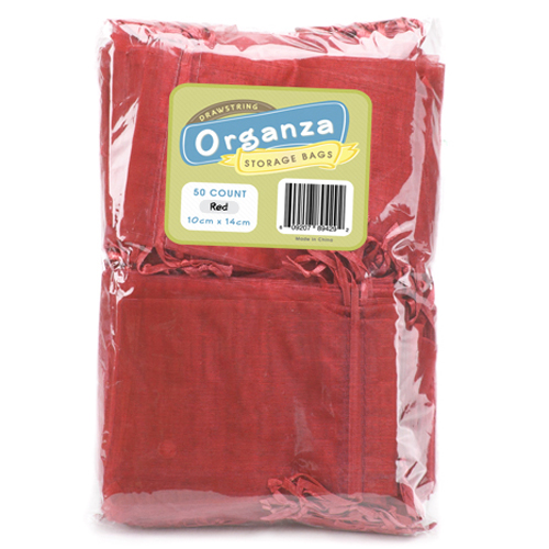 Lot of 50 Red Drawstring Organza Storage Bags