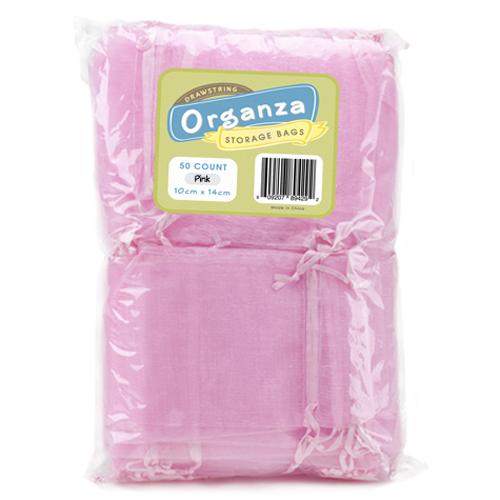 Lot of 50 Light Pink Drawstring Organza Storage Bags