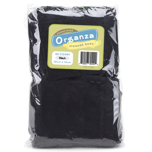 Lot of 50 Black Drawstring Organza Storage Bags